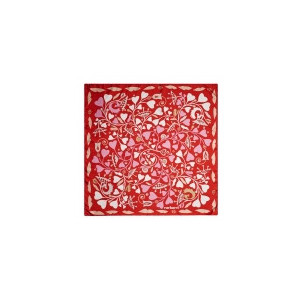 Foulard soie Fairy Garden red