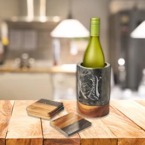 Seau à vin en marbre et bois personnalisé
