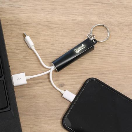 porte-clé publicitaire avec cable 3 en 1