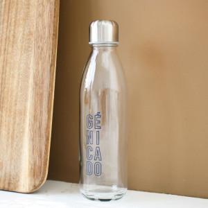 Bouteille en verre transparente personnalisable avec logo
