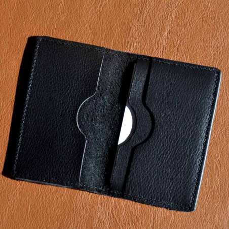 Porte-carte cuir double personnalisé avec logo embossé
