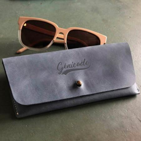 Etui à lunettes en cuir, fabriqué en France, personnalisable avec logo