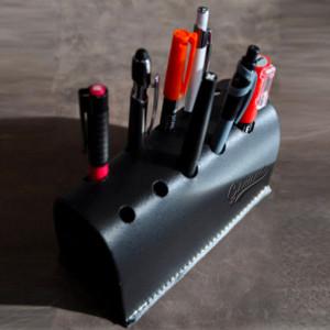 Support à stylos de bureau en cuir personnalisable avec logo