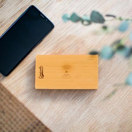 Batterie externe à induction publicitaire en bambou