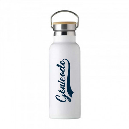 Gourde isotherme vintage blanche personnalisable