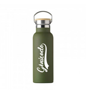 Gourde isotherme vintage vert khaki personnalisable