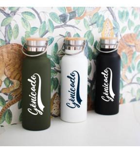 Bouteille isotherme vintage et tendance coloris kaki, noir ou blanc