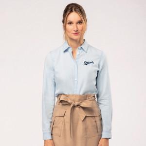 Chemise femme manches longues en coton bio personnalisée