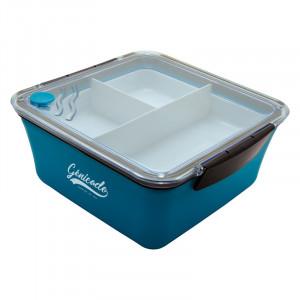 Bento bleu personnalisable avec 3 compartiments