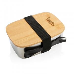 Lunch box en acier avec couvercle en bambou et cuichette