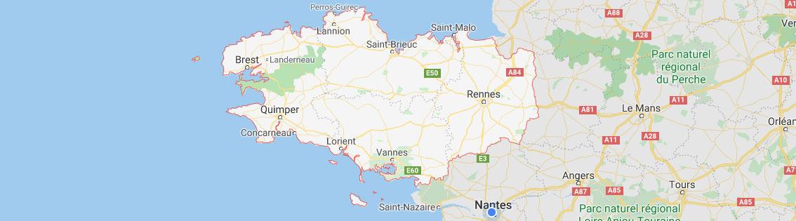 Carte localisation agence objets publicitaires Bretagne